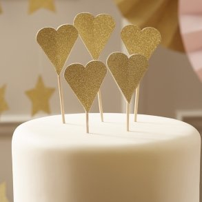 Sparkling Gold Heart Cupcake Toppers
