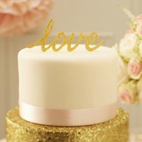Sparkling Gold Love Cake Topper