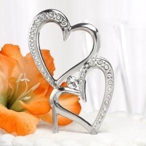Sparkling Heart Wedding Cake Topper