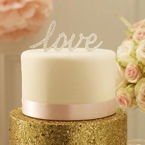 Sparkling Silver Love Cake Topper