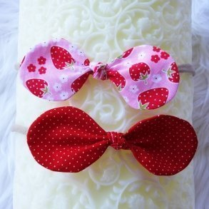 Strawberry & Red Polkadot Top Knot Bow Baby Headband Set