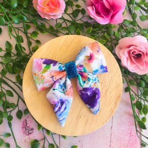 Summer Days Floral Girls Hair Bow Clip or Headband
