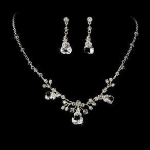 Swarovski Silver Heart Bridal Necklace Set