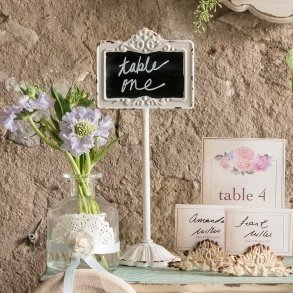 Tabletop Antique White Blackboard Stand