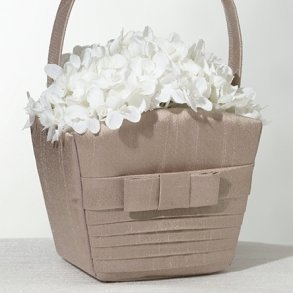 Taupe Pleated Flower Girl Basket