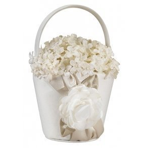 Taupe Rose Flower Girl Basket