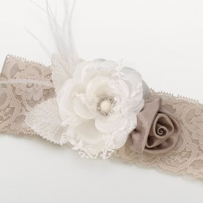 Taupe Vintage Lace Wide Garter