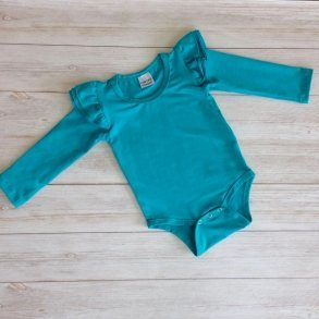 Teal Long Sleeve Flutter Onesie
