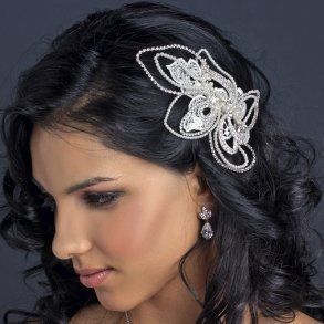 Unique Swirling Ivory Pearl & Rhinestone Bridal Clip