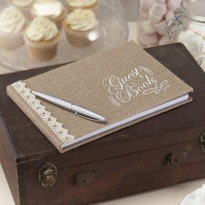 Vintage Affair Hessian Burlap Rustic Wedding Guest Book