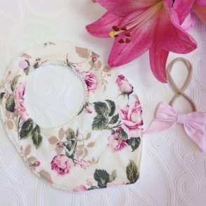 Vintage Dusty Pink Rose Bib & Hair Bow Baby Gift Set