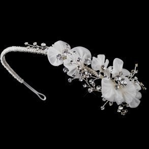 Vintage Inspired Ivory Antique Silver Rhinestone Headband