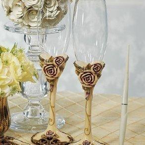 Elegant Vintage Rose Toasting Flutes