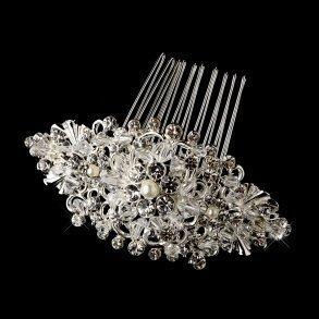 Vintage Silver Crystal, Rhinestone & Pearl Bridal Hair Comb