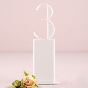 White Acrylic Pedestal Style Table Number