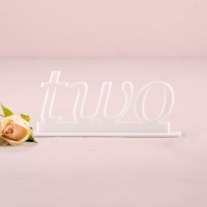 White Acrylic Word Style Table Number