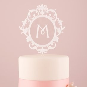 White Classic Floating Monogram Acrylic Cake Topper