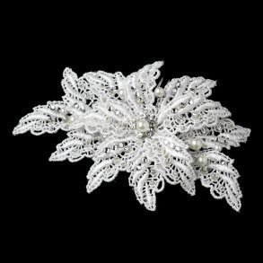 White Embroidered Fabric Leaf Bridal Comb