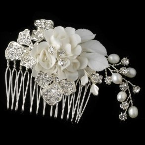 White Floral Hair Comb With Pearls & Rhinestones