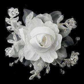 White Floral Organza & Lace Hair Clip