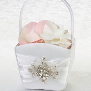 White Jewelled Motif Flower Girl Basket