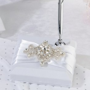 White Jewelled Motif Wedding Pen