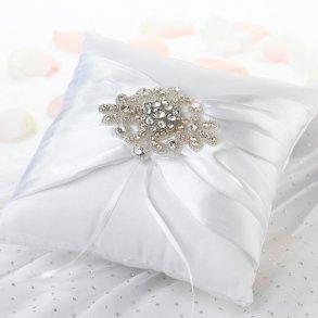 White Jewelled Motif Wedding Ring Pillow