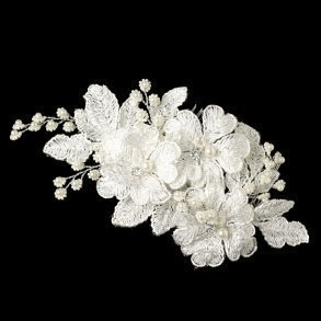 White Lace Flower Comb With Ivory Accents