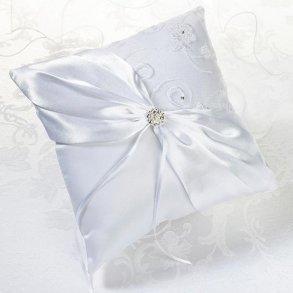 White Lace Wedding Ring Pillow