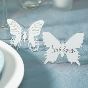 White Laser Expressions Butterfly Folded Place Card