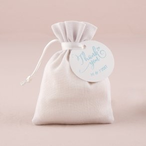 White Linen Drawstring Favour Bag