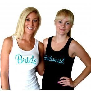 White or Black Bridal Party Singlet With Aqua Embroidery