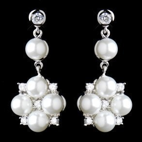 Silver Crystal & White Pearl Flower Drop Earrings
