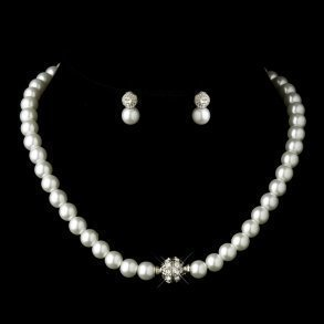 Ivory Pearl & Silver Pave Ball Jewellery Set