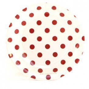 White & Red Polkadot Cake Plates - Pack of 12