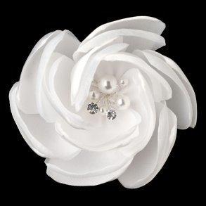 White Satin & Organza Flower Bridal Hair Clip