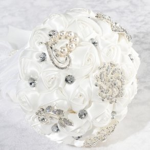 White Satin Rose Artificial Wedding Bouquet With Bling