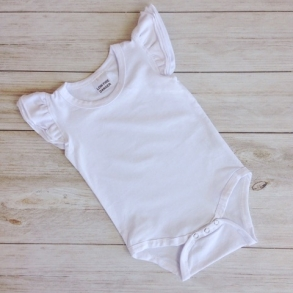 White Short Sleeve Flutter Onesie