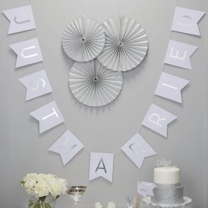 White & Silver Just Married Bunting
