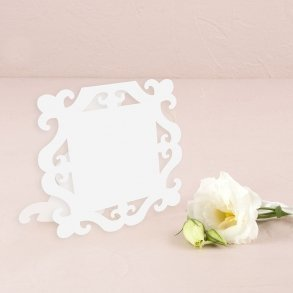White Laser Expressions Square Baroque Frame Folded Place Card