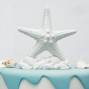 White Starfish Wedding Cake Topper