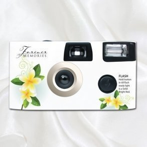 White Frangipani Disposable Wedding Camera