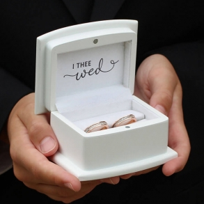 With These Rings I Thee Wed White Wooden Ring Box