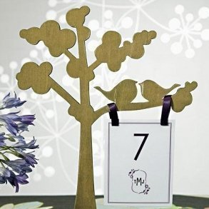 Wooden Die-cut Trees With 'Love Birds' Silhouette - Set of 2 Assorted