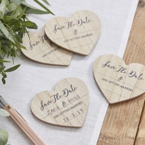 Wooden Save The Date Heart Magnets