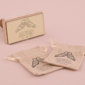 Woodland Style Owls Personalised Rubber Wedding Stamp