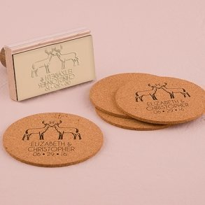 Woodland Style Deer Personalised Rubber Wedding Stamp