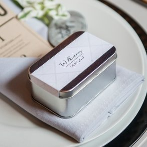 XOXO Rectangular Tin Box with Lid Silver
