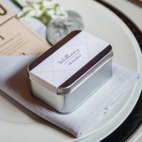 XOXO Rectangular Tin Box with Lid Silver