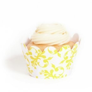 Yellow Filigree Mini Cupcake Wrappers - Pack of 18
